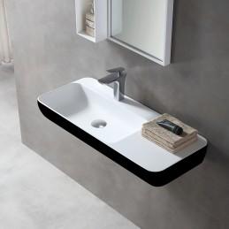 umywalka ścienna umywalka nablatowa TWG202 z odlewu mineralnego Solid Stone – czarna/ biała mat – 90x40x12cm