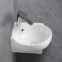 umywalka narożna z ceramiki KW198A dla gości-WC - 39,5 x 36,5 x 14 cm - umywalka ścienna biała błyszcząca