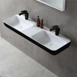 umywalka ścienna umywalka nablatowa TWG203 z odlewu mineralnego Solid Stone – czarna / biała mat – 120x40x12cm
