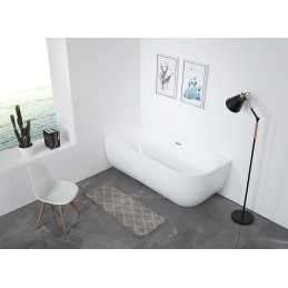 wolnostojąca wanna oszczędzająca miejsce LENA CORNER akryl biała błyszcząca -  montaż z lewej - 170 x 75 cm - armatura s