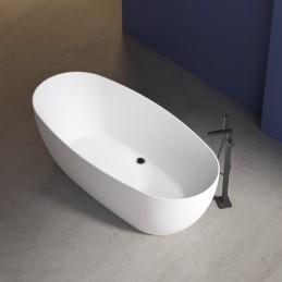 wolnostojąca wanna BELAQUA akryl biała błyszcząca - 170 x 80 x 58 cm - armatura stojąca do wyboru